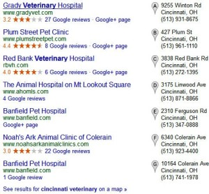 A typical listing of Google Reviews.
